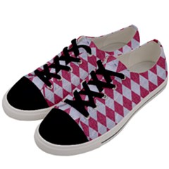 Diamond1 White Marble & Pink Denim Men s Low Top Canvas Sneakers by trendistuff