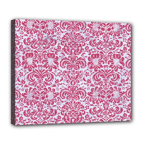 Damask2 White Marble & Pink Denim (r) Deluxe Canvas 24  X 20   by trendistuff
