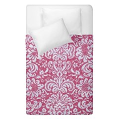 Damask2 White Marble & Pink Denim Duvet Cover Double Side (single Size) by trendistuff