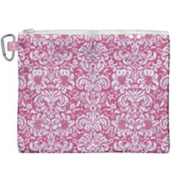 Damask2 White Marble & Pink Denim Canvas Cosmetic Bag (xxxl) by trendistuff