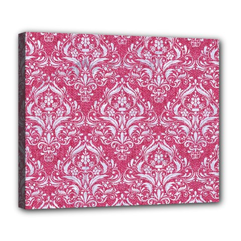 Damask1 White Marble & Pink Denim Deluxe Canvas 24  X 20   by trendistuff