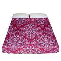 Damask1 White Marble & Pink Denim Fitted Sheet (california King Size) by trendistuff