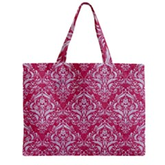 Damask1 White Marble & Pink Denim Zipper Mini Tote Bag by trendistuff