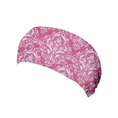 Damask1 White Marble & Pink Denim Yoga Headband by trendistuff