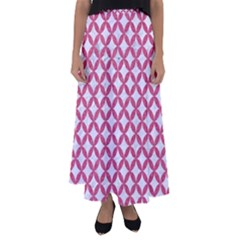 Circles3 White Marble & Pink Denim (r) Flared Maxi Skirt
