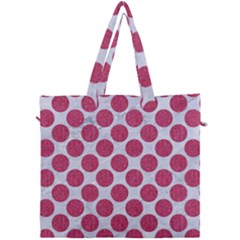 Circles2 White Marble & Pink Denim (r) Canvas Travel Bag by trendistuff