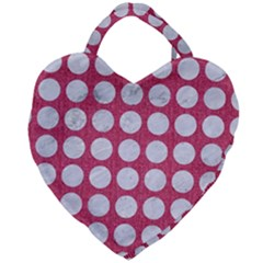 Circles1 White Marble & Pink Denim Giant Heart Shaped Tote