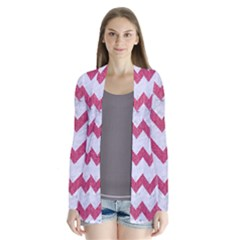 Chevron9 White Marble & Pink Denim (r) Drape Collar Cardigan