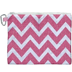 Chevron9 White Marble & Pink Denim Canvas Cosmetic Bag (xxxl) by trendistuff
