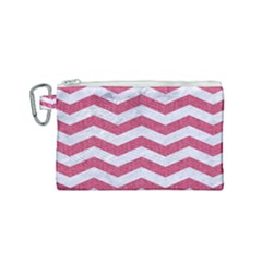 Chevron3 White Marble & Pink Denim Canvas Cosmetic Bag (small) by trendistuff