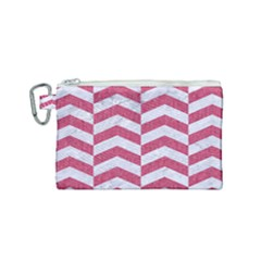 Chevron2 White Marble & Pink Denim Canvas Cosmetic Bag (small) by trendistuff