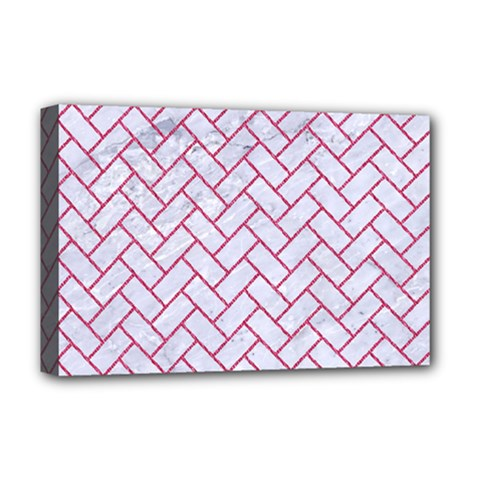 Brick2 White Marble & Pink Denim (r) Deluxe Canvas 18  X 12