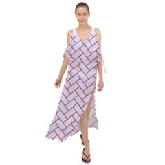 Brick2 White Marble & Pink Denim (r) Maxi Chiffon Cover Up Dress