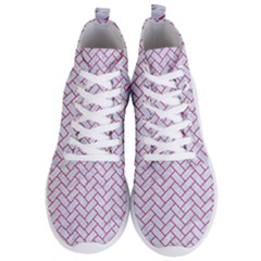 Brick2 White Marble & Pink Denim (r) Men s Lightweight High Top Sneakers