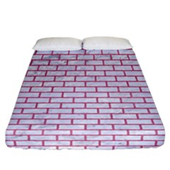Brick1 White Marble & Pink Denim (r) Fitted Sheet (california King Size) by trendistuff