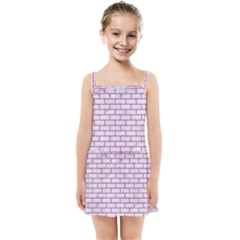 Brick1 White Marble & Pink Denim (r) Kids Summer Sun Dress