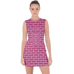 Brick1 White Marble & Pink Denim Lace Up Front Bodycon Dress