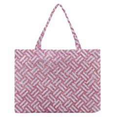 Woven2 White Marble & Pink Glitter Zipper Medium Tote Bag by trendistuff
