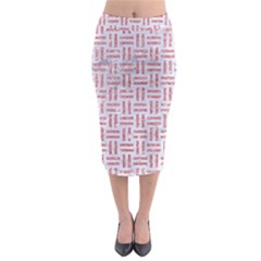 Woven1 White Marble & Pink Glitter (r) Midi Pencil Skirt by trendistuff