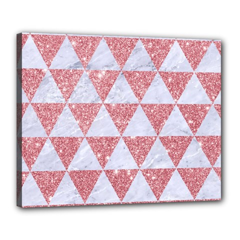 Triangle3 White Marble & Pink Glitter Canvas 20  X 16  by trendistuff