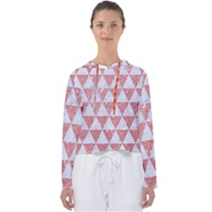 Triangle3 White Marble & Pink Glitter Women s Slouchy Sweat