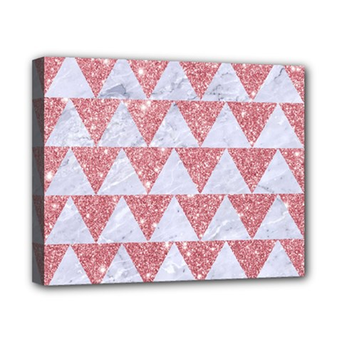 Triangle2 White Marble & Pink Glitter Canvas 10  X 8  by trendistuff