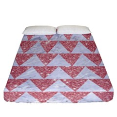 Triangle2 White Marble & Pink Glitter Fitted Sheet (california King Size) by trendistuff