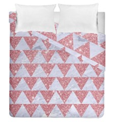 Triangle2 White Marble & Pink Glitter Duvet Cover Double Side (queen Size) by trendistuff