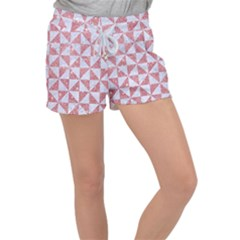 Triangle1 White Marble & Pink Glitter Women s Velour Lounge Shorts