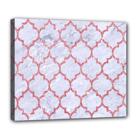 Tile1 White Marble & Pink Glitter (r) Deluxe Canvas 24  X 20   by trendistuff