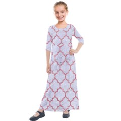 Tile1 White Marble & Pink Glitter (r) Kids  Quarter Sleeve Maxi Dress