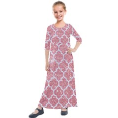 Tile1 White Marble & Pink Glitter Kids  Quarter Sleeve Maxi Dress