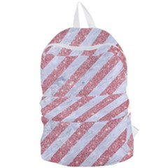 Stripes3 White Marble & Pink Glitter (r) Foldable Lightweight Backpack by trendistuff