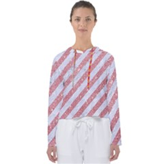 Stripes3 White Marble & Pink Glitter (r) Women s Slouchy Sweat