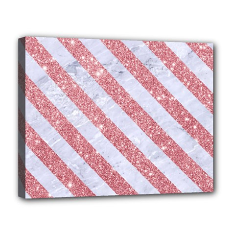 Stripes3 White Marble & Pink Glitter Canvas 14  X 11