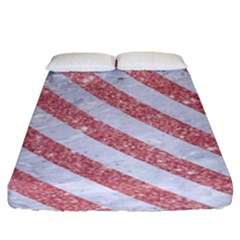 Stripes3 White Marble & Pink Glitter Fitted Sheet (king Size) by trendistuff