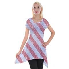 Stripes3 White Marble & Pink Glitter Short Sleeve Side Drop Tunic