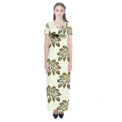 Camouflage Tropical Leaf Short Sleeve Maxi Dress