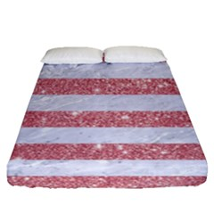 Stripes2white Marble & Pink Glitter Fitted Sheet (queen Size) by trendistuff