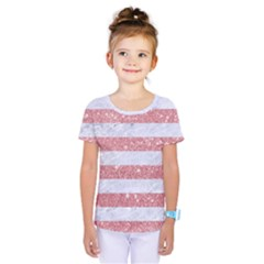 Stripes2white Marble & Pink Glitter Kids  One Piece Tee