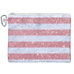 Stripes2white Marble & Pink Glitter Canvas Cosmetic Bag (xxl)