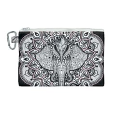 Ornate Hindu Elephant  Canvas Cosmetic Bag (large) by Valentinaart