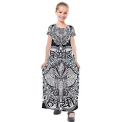 Ornate Hindu Elephant  Kids  Short Sleeve Maxi Dress by Valentinaart