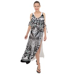 Ornate Hindu Elephant  Maxi Chiffon Cover Up Dress by Valentinaart