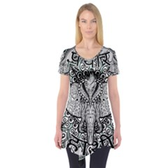 Ornate Hindu Elephant  Short Sleeve Tunic  by Valentinaart