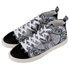 Ornate Hindu Elephant  Men s Mid Top Canvas Sneakers by Valentinaart
