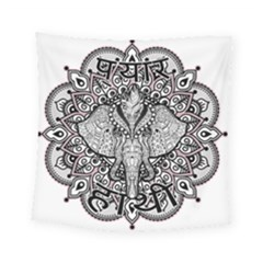 Ornate Hindu Elephant  Square Tapestry (small)