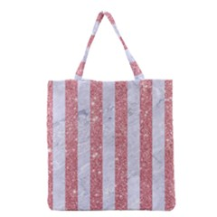 Stripes1 White Marble & Pink Glitter Grocery Tote Bag by trendistuff