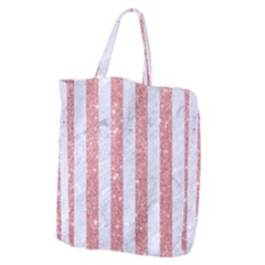Stripes1 White Marble & Pink Glitter Giant Grocery Zipper Tote by trendistuff