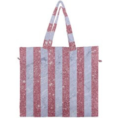 Stripes1 White Marble & Pink Glitter Canvas Travel Bag by trendistuff